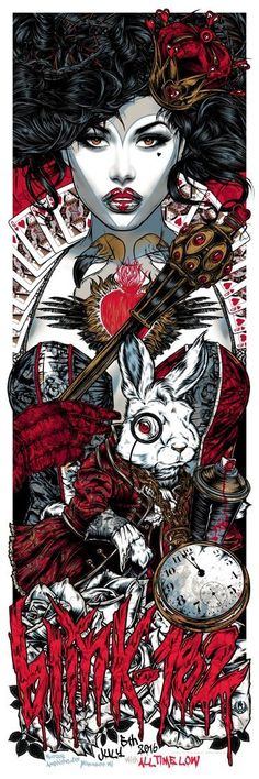 BLINK-182 QUEEN OF HEARTS gigposter JULY 5TH, 2016 Marcus Amphitheater Milwaukee, WI 6 colour silkscreen poster. on heavy 250gsm paper stock printe...