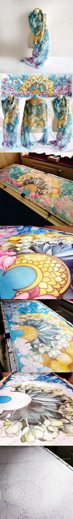 Steps of painting the Bouquet Flowers silk scarf. #silk #scarf #bouquet #flowers #floral #minkulul Luiza #Malinowska
