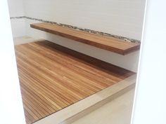 Custom teak shower mat, made in Minnesota