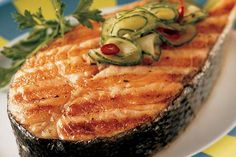 Salmon With Thai Cucumber Relish - Weber Cucumber Relish Recipes, Salmon Recipes, Seafood Recipes, Vegetarian Recipes, Grilled Seafood, Fish And Seafood, Weber Bbq, Weber Grills, Weber Recipes