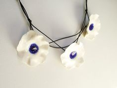 Three Fresh White  and blue Porcelain Flowers Necklace from Italy