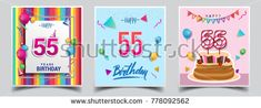 Vector Sets of 55 Years Birthday invitation, greeting card Design, with confetti and balloons, birthday cake, Colorful Vector template Elements for your Birthday Celebration Party.
