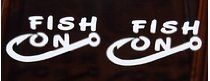 Fish on with Hook Fishing White Vinyl Decal Window Sticker Set of 2 NEW