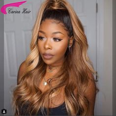Ombre Human Hair Lace Wig Pre Plucked Brazilian Lace Front Wigs With Baby Hair - Human Hair Lace Wigs Honey Brown Hair, Honey Blonde Hair, Brown Hair With Highlights, Brown Hair Colors, Blonde Highlights, Hair Colour, Front Hair Styles, Medium Hair Styles, Hair Front