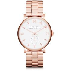 Marc by Marc Jacobs Baker 33 MM Stainless Steel Women's Watch (€205) ❤ liked on Polyvore featuring jewelry, watches, montres, rose gold, bracelet watches, stainless steel bracelet, dial watches, white face watches and stainless steel jewelry