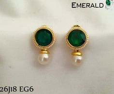 Adorn adorable pair of emerald earrings Gold Earrings Designs, Gold Jewellery Design, Necklace Designs, Gold Jewelry, Fine Jewelry, Jewellery Box, Jewellery Shops, Jewelry Stores, Jewellery Making