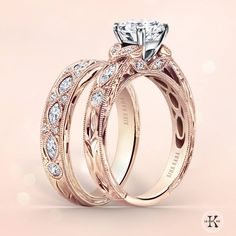Gorgeous Kirk Kara engagement ring and matching wedding band I would settle for this in rose gold.