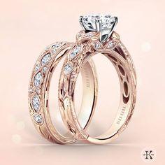 Gorgeous Kirk Kara engagement ring and matching wedding band in rose gold.