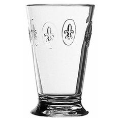 This charming glass has historic European styling and is embossed with Fleur de Lis and is manufactured by La Rochere which is the oldest glass factory in France. Made in France.