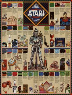 Fold-out Poster From 1982 Atari Game Catalog Vintage Videos, Vintage Video Games, Retro Videos, Classic Video Games, Retro Video Games, Vintage Games, Retro Games, Vintage Toys, Arcade Retro