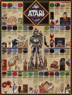 Fold-out Poster From 1982 Atari Game Catalog Vintage Video Games, Classic Video Games, Retro Video Games, Vintage Games, Retro Games, Vintage Toys, Nintendo, Arcade Retro, Playstation