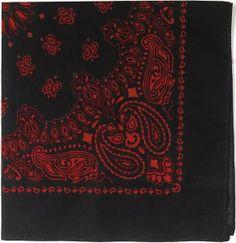 "Black & Red Trainmen Cotton Paisley Sport 27"" x 27"" Bandana Biker Headwrap   4349 BLK/RED   $2.69"
