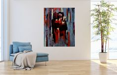 Farewell - original expressive painting by Jacek Sikora in home interior context