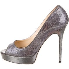 Jimmy Choo Glitter Platform Pumps ($225) ❤ liked on Polyvore featuring shoes, pumps, metallic, glitter pumps, glitter platform pumps, peep toe platform pumps, metallic platform shoes and platform shoes