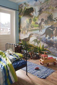 Binnen kijken bij Caroline - Onze Suus Magazine #dinosaurus kamer Cool Kids Rooms, Kids Room Paint, Chambre Nolan, Kids Bedroom, Bedroom Decor, Dinosaur Wallpaper, Dinosaur Bedroom, Room Themes, Kid Beds