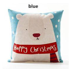 Cartoon Santa Claus decorative pillows for sofa bear linen cushions 18 inch