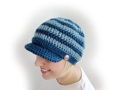 Crochet Newsboy Cap. 44 colors. Striped. Beanie. by VividBear