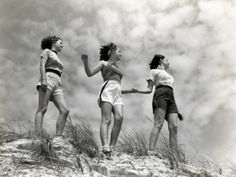 Three Women Standing on Beach, Holding Hands, Smiling Photographic Print by H. Stock Pictures, Cool Pictures, Cool Photos, Beach Posters, Woman Standing, Professional Photographer, Photography Tips, Vintage Beach Photography, Holding Hands