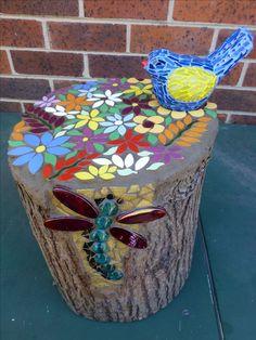 tree stump & bird for my mum and dad for xmas 2016 (Outdoor Wood Tree Stumps) Mosaic Garden Art, Mosaic Art, Mosaic Glass, Mosaic Tiles, Pebble Mosaic, Mosaic Crafts, Mosaic Projects, Garden Projects, Garden Ideas