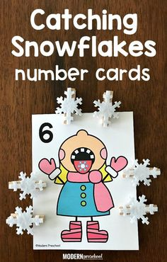 FREE printable Catching Snowflakes Counting Cards to use during January and your winter theme to practice counting, numbers, and correspondence with this super simple math center for preschool, pre-k, kindergarten at home or in school! Preschool Christmas, Preschool Crafts, Winter Theme For Preschool, January Preschool Themes, Math Crafts, Numbers Preschool, Winter Crafts For Kids, Winter Fun, Winter Ideas