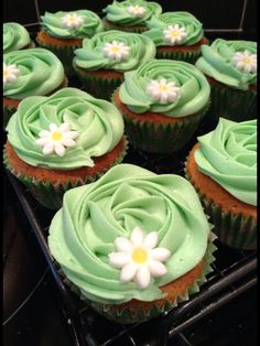 Perfect for spring/ summer theme. In this case, I made them for a Macmillan Night In. Swirl Cupcakes, Cupcake Icing, Vanilla Cupcakes, Cupcake Cakes, Macmillan Coffee Morning Cakes, Morning Coffee, Coffee Mornings, Cake Stall, School Cake