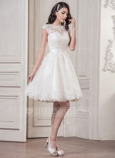 A-Line/Princess Scoop Neck Knee-Length Satin Tulle Wedding Dress With Appliques Lace (002058763) - JJsHouse