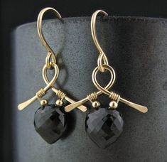 Short Minimalist Wire Wrapped Black Stone Goldfill Earrings, Wire Wrapped Jewelry, Wired Stone Short Earrings, Black Spinel Wrap Earrings