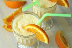 Orange Julius   6 ounces frozen orange juice concentrate  1 cup milk, lowfat okay  1 cup water  1/4 cup sugar  1 teaspoon vanilla  8 ice cubes  Directions:  1 -Combine all ingredients, except ice cubes, in blender.  2 -Blend 1-2 minutes , adding ice cubes one at a time, until smooth ORANGE JULIS