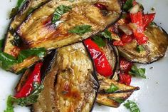 Grilled Eggplants with Fresh Mint and Balsamic Vinegar -- From Mediterranean Flavors by Maria Jose Sevilla (Clarkson Potter, Roast Eggplant, Grilled Eggplant, Antipasto, Vegetarian Recipes, Cooking Recipes, Healthy Recipes, Italian Food Restaurant, Sicilian Recipes, Gastronomia