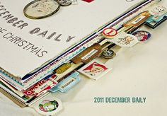 Tab Ideas / december daily / days of a trip for mini album Daily Journal, Book Journal, Art Journals, December Daily, Scrapbook Albums, Scrapbooking Layouts, Scrapbook Photos, Travelers Notebook, 25 Days Of Christmas