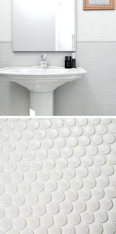 This clean, bright mesh-mounted mosaic tile incorporates soft penny-round pieces that are constructed from durable porcelain. It's equally at home in a vintage-style or modern bathroom. Also available in light green, light blue and beige.