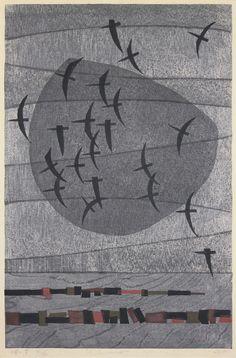 """Cape - V"" by Kunihiro Amano (woodblock, 16/50 1965) #woodblock"