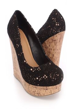 Look perfectly pretty for your next party when you add these saucy wedges to your look! They go perfect with any outfit for any occasion! Make sure you add these to your closet, it definitely is a must have! The features include a crochet upper with a round closed toe, scoop vamp, cork platform wedge, satin underlay, smooth lining, and cushioned footbed. Approximately 5 1/2 inch wedge heels and 1 1/2 inch platforms.