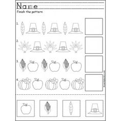 Free Thanksgiving Patterns Cut and Paste This is a free Thanksgiving pattern worksheet for Kindergarten or Pre-K math for practicing ABA patterns. Students cut, paste, and color the Thanksgiving pictures to practice their fine motor skills and pattern rec Thanksgiving Worksheets, Thanksgiving Preschool, Fall Preschool, Preschool Activities, Thanksgiving Writing, Thanksgiving Quotes, Thanksgiving Appetizers, Thanksgiving Outfit, Thanksgiving Turkey