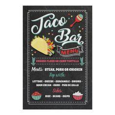 Taco Bar Menu, Tacos Menu, Bean Chips, Walking Tacos, Mexican Menu, Party Buffet, Menu Design, Party Signs, Custom Posters