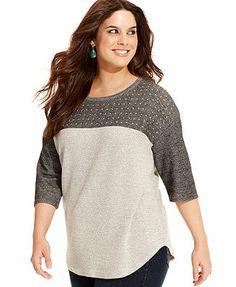 Style&co. Plus Size Three-Quarter-Sleeve Studded Sweatshirt