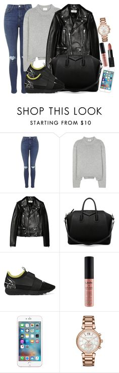 """""""Balenciaga, Acne and Saint Laurent"""" by camrzkn ❤ liked on Polyvore featuring Topshop, Acne Studios, Yves Saint Laurent, Givenchy, Balenciaga, NYX, Michael Kors and NARS Cosmetics"""