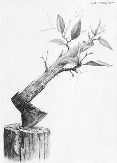 1번출구 미술학원+그림그리는사람들미술학원 :: [정물소묘 구성 / 과정작] 나무그루터기, 도끼, 새싹 (물성의 변화) Dark Art Drawings, Graphite Drawings, Pencil Art Drawings, Art Drawings Sketches, Cool Drawings, Surrealism Drawing, Surealism Art, Object Drawing, Hippie Art