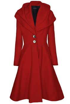 James Lakeland Long flared coat with buttons, Red