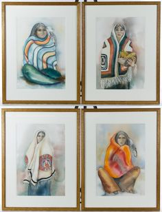 """Lot 316: A. J. West (20th Century) Watercolor on Paper Assortment; Four framed watercolors, undated, signed along lower edge, depicting Native American females, having embossed """"Aquarelle Arches"""" marks on the lower right of the paper"""