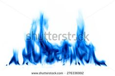 Blue light fire and flames on white background