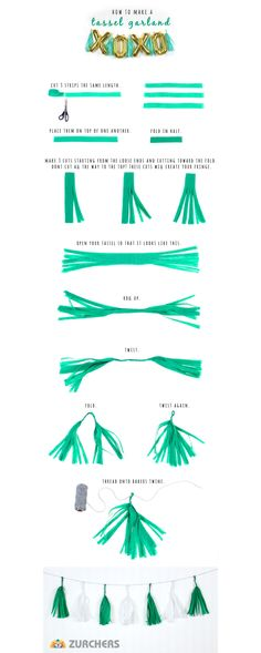 Look no further to liven up your party decorations than a fun and brightly colored tassel garland. Add flair to any event when you mix and match tassels to your