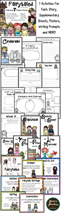 Fairytales: 112 pages - This pack will help your class have a magical fairytale unit. Composed of supplementary posters, activity sheets, idea cards, booklets, graphic organizers and more!