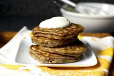 zucchini bread pancakes, maple yogurt by smitten. Our new favorite breakfast! I make them with 100% whole wheat flour and they are delicious.