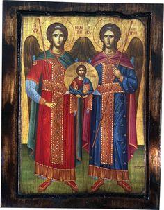 Archangel Michael, Archangel Gabriel - Orthodox Byzantine icon on wood handmade (22.5 cm x 17 cm) by ReligiousIcons on Etsy https://www.etsy.com/listing/199321851/archangel-michael-archangel-gabriel