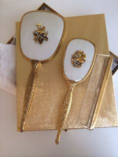 24K Gold Plated Art Nouveau Guilloche Inspired Vintage Three Vanity Set,  Birds Flower Leaves Gilt Goldtone  Beautiful Set Original Box