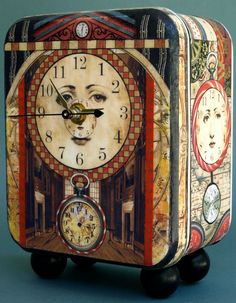 """The Face of Time"": Mixed media clock designed & handcrafted by Barbara Edidin. It is a functional piece of art / Leslie Levy Fine Art @ http://www.leslielevy.com/orig_art_view.php?pg=12=21=bedid=n#"