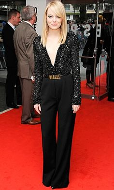 Emma Stone - Love the tailoring and the plunging neckline!