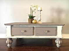 White & Gray Coffee Table w/Glass Knobs - $250 -SOLD