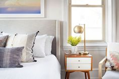 This fresh and bright master bedroom is the perfect place to relax and unwind. Designed by Sharp + Grey Interiors. Master Bedroom Interior, Gray Interior, Bedroom Wall, Bedroom Decor, Dream Bedroom, Kids Bedroom, Boutique Interior Design, Residential Interior Design, Cool Room Decor